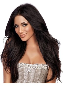 Kim Kardashian Hairstyle Super Long 100% Human Hair Lace Front Wig Natural Straight 24 Inches