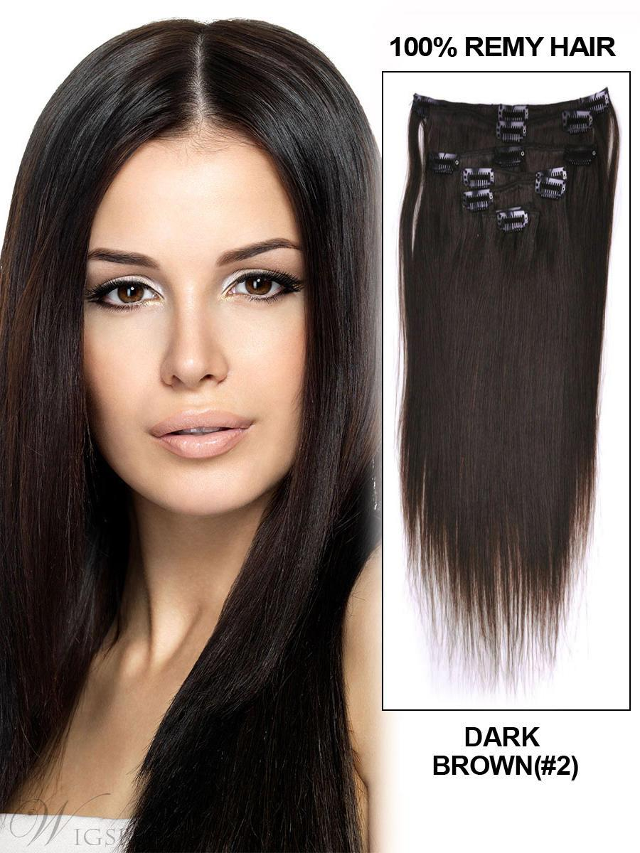 Remy Human Hair Straight 7PCS Clip in Hair Extensions