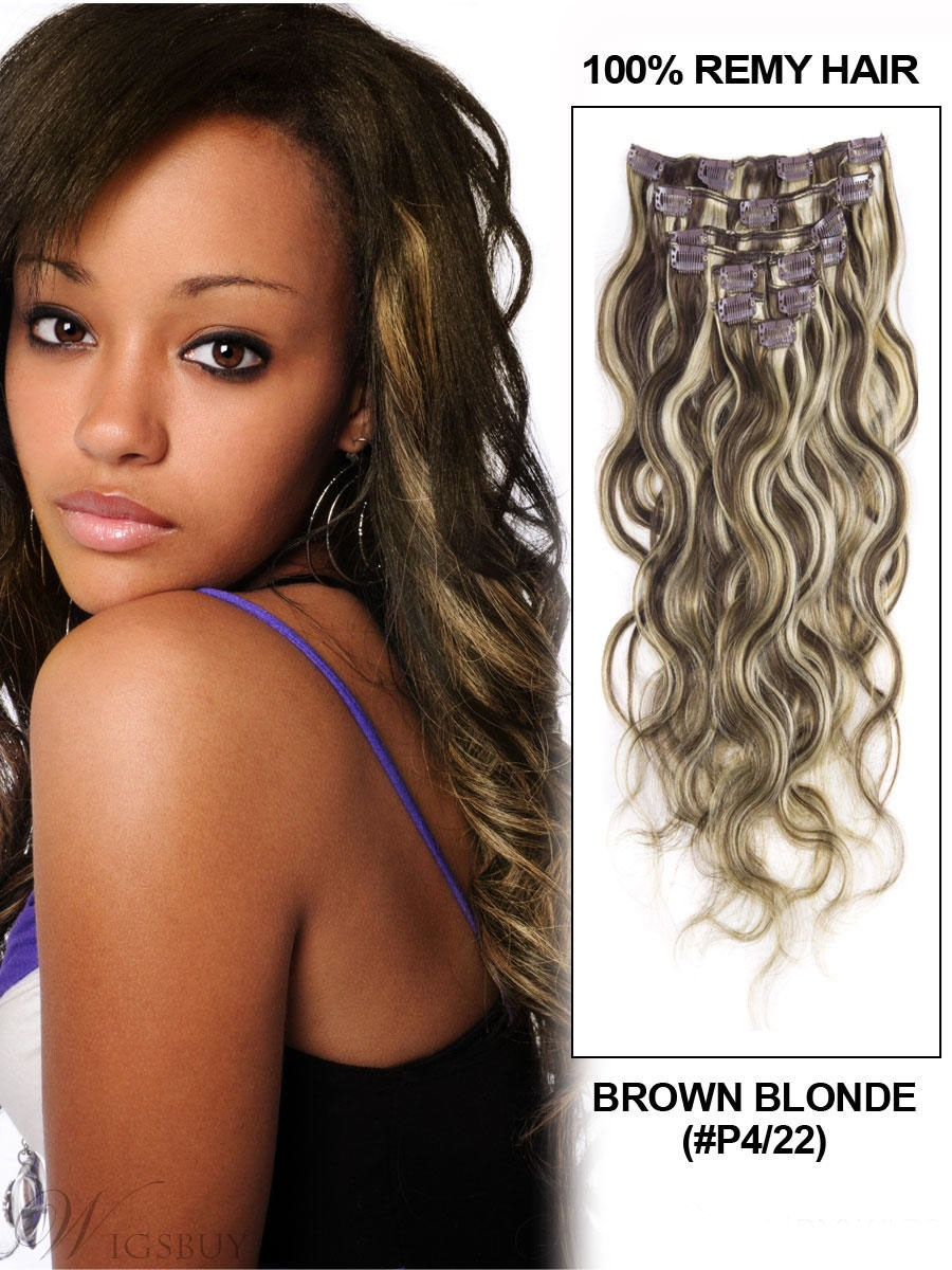 Wavy Brown 7PCS Clip in Human Hair Extensions