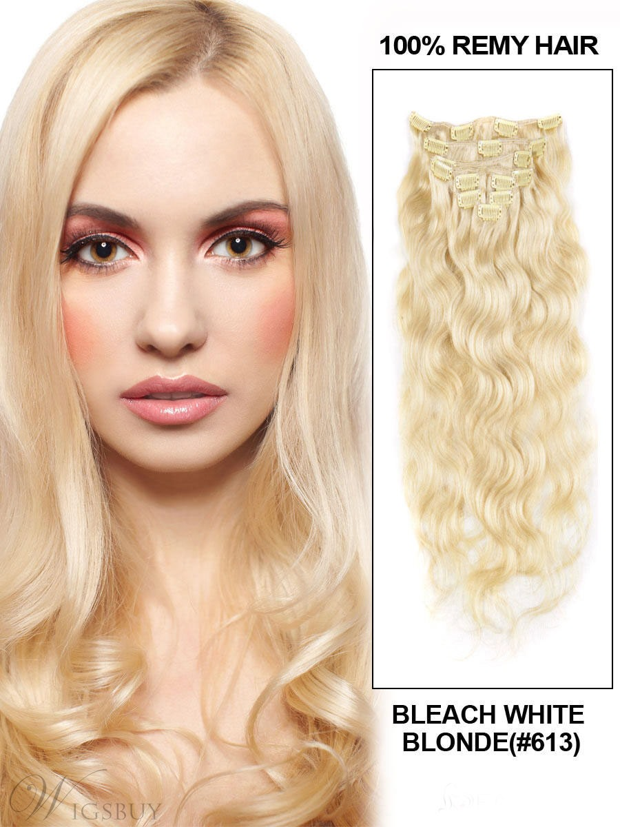 Wavy Bleach 7PCS Clip in Remy Human Hair Extensions