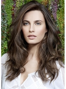 Elegant Long Casual Wavy Dark Brown (#2) Remy Human Hair Lace Front Wig 18 Inches