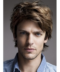 Glossy Men's Messy Hairstyle Short Straight Lace Front Wig 100% Human Hair