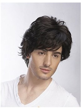 Cool Short Straight 100% Human Hair Capless Wig for Men