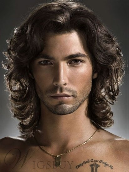 Fluffy Men's Short Curly Lace Front Wig 100% Human Hair 12 Inches