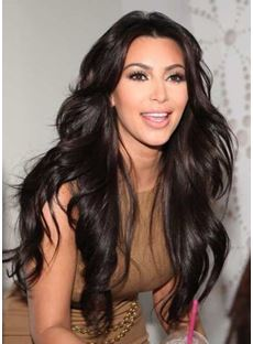 Kim Kardashian Super Long Natural Wave 150% Density Lace Front Wig Heat Resistant Hair 24 Inches