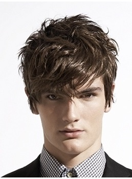 Fashion Amazing Men's Hairstyle Short Straight Monofilament Top 100% Human Hair Wig
