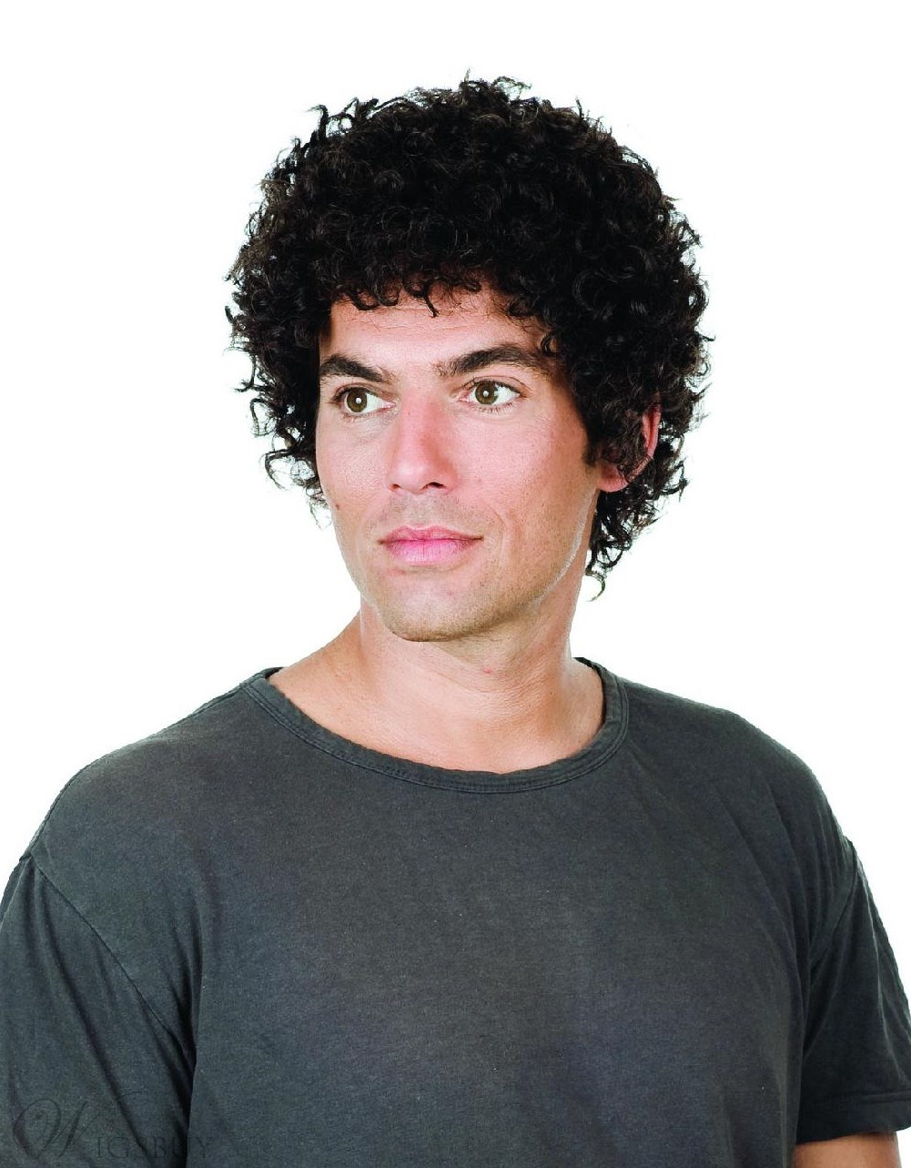 Short Curly High Quality Full Lace Mens Wig 100% Human Hair 150% Density 10874979