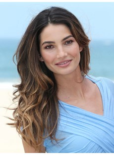 Lily Aldridge Long Wavy Lace Front Wig 100% Human Hair Ombre Brown With Highlight 18 Inches