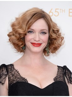 Christina Hendricks Sexy Short Curly Lace Front Wig 100% Human Hair 10 Inches
