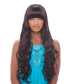 Super Long Curly With Full Bangs 150% Density Heat Resistant Hair 28 Inches