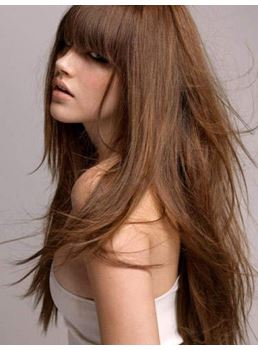 Premier 100% Remy Human Hair with Full Bangs 22 Inches Long Silky Straight