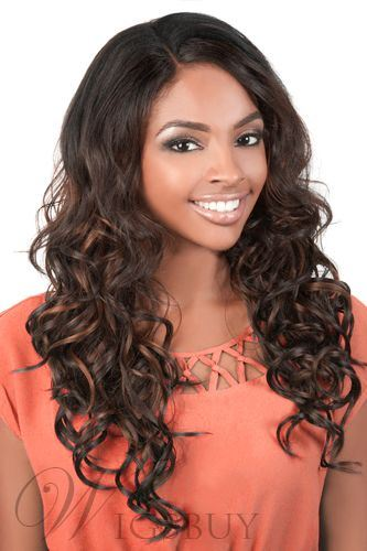 Deluxe Long Curly Lace Front Wig Synthetic Hair 150% Density 24 Inches