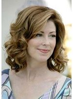 Shoulder Length With Wavy Hairstyles for Mature or Elder Women Remy Human Hair Front Lace Wig 14 Inches