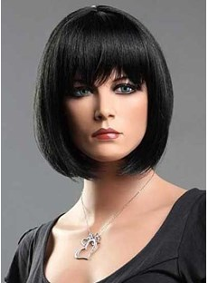 Smooth Polished Bob Hairstyle With Full Bangs Natural Black 10 Inches 100% Human Hair