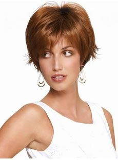 Specialized Charming Fashionsetting Short Straight Brown Heat Resistent Synthetic Hair Capless Wig