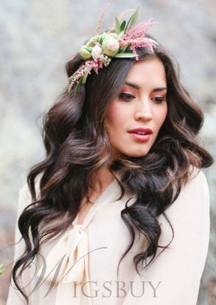 2014 New Trend Wedding Bride Hairstyle Attractive Long Casual Wavy #4/33 Remy Human Hair Lace Front Wig 22 Inches