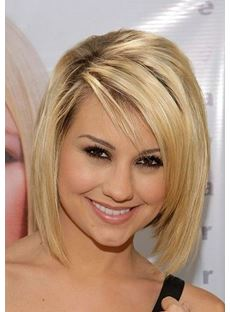 Short Straight Layered Synthetic Hair Heat Resistant Front Lace Wig 10 Inches