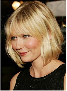Short Natural Straight Ombre Golden Blonde Bob Wig With Bang 10 Inches