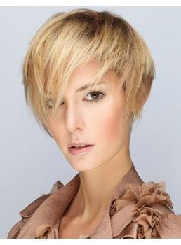 Short Carefree Layered Blonde Straight Hairstyle Capless Human Hair Wig