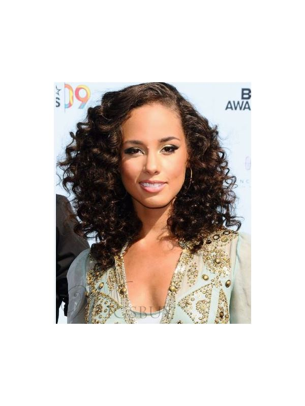 Bouncy Thick Curls Medium-Length Medium Brown Front Lace Remy Human Hair Wig 16 Inches