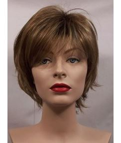 Choppy Layered Brown Short Synthetic Hair Capless Wig 6 Inches
