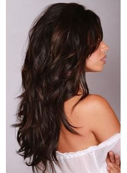 Long Layered Lace Front Natural Wigs Human Hair with Bang