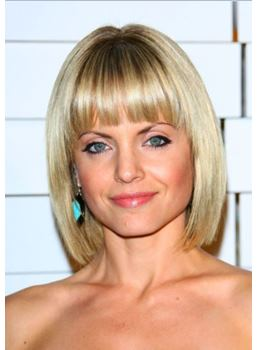 Short Straight Bob Hairstyle with Bangs Synthetic Hair Capless Wig 10 Inches