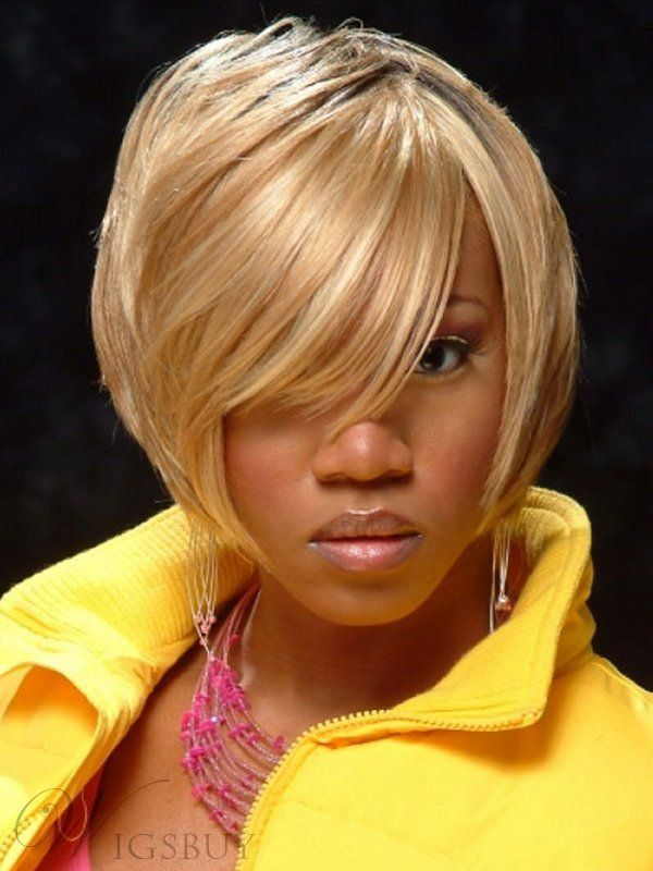 Short Bob Silky Soft Straight Blonde Remy Human Hair Wig 8 Inches for Black Women