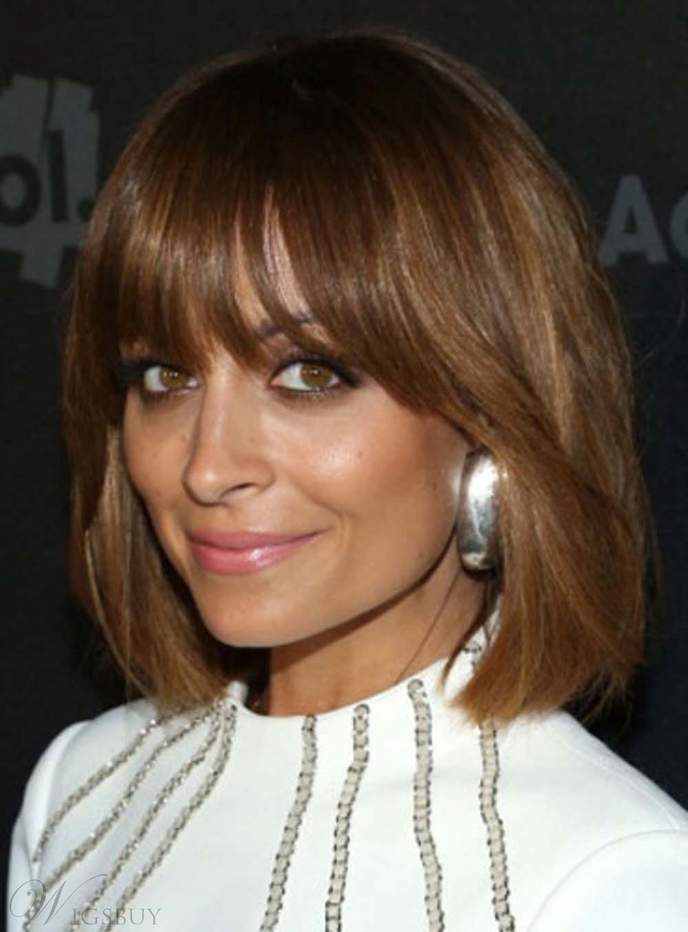 Bob Hairstyle Wigs with Full Bangs 10 Inches 100 Human Hair Monofilament Wigs