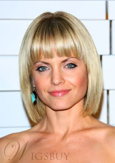 Short Straight Bob Hairstyle With Bangs Synthetic Hair
