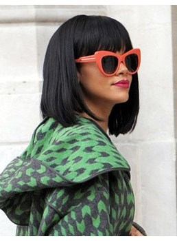 Rihanna Short Black Bob Hairstyle with Full Bangs 10 Inches 100% Human Hair Wig