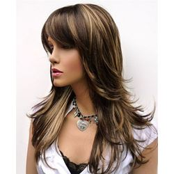100 Human Hair Natural Straight with Bangs 18 inches