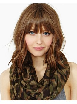 Human Hair Natural Wave with Full Bangs Women Wigs