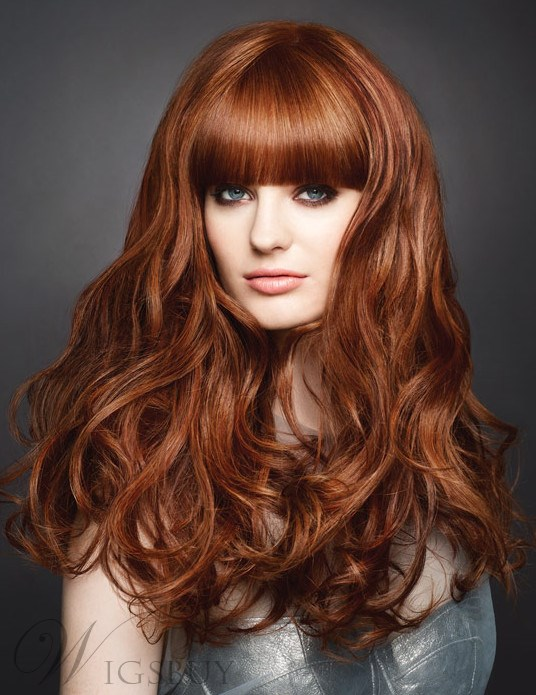 Full Bangs Natural Curly Long Heat Resistant Hair Capless Wig 22 inches