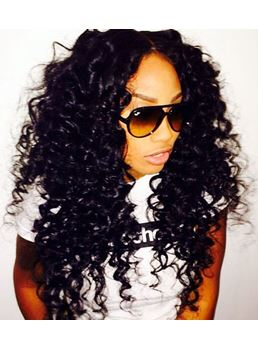 150% Density Long Curly Jet Black 100% Human Hair Lace Wig 24 inches