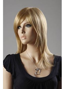 Layered Soft Lightweight Straight Strawberry Blonde Synthetic Hair Capless Wig 16 Inches