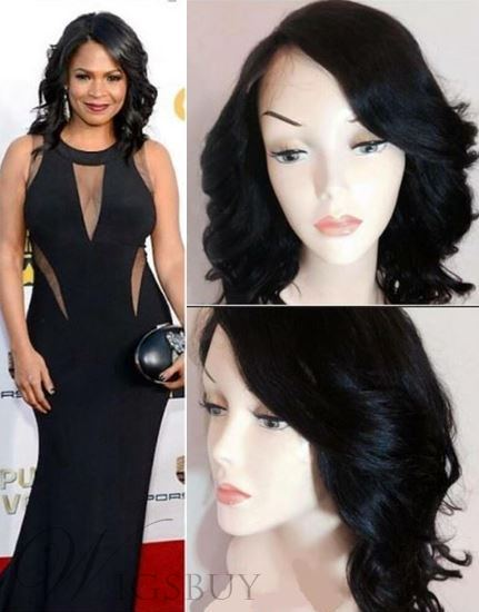 Nia Long at the Critics Awards Mid-Length Wavy Black Remy Human Hair Front Lace Wig 16 Inches