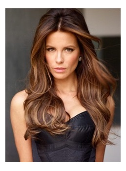 Kate Beckinsale Natural Wave Human Hair Monofilament Wigs 22 Inches