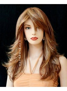 Capless Wig 100 Human Hair Mixed Color 18 Inches