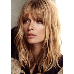 Natural Wave Ombre Blonde with Full Bangs 100 Human Hair 14 Inches
