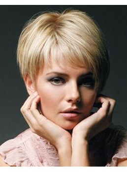 Super Short Full Lace Human Hair Wig Blonde Hair for Women