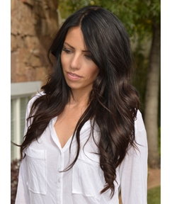 Discount Gorgeous 100% Human Hair 22 Inches Long Wavy Brown Lace Front Wigs