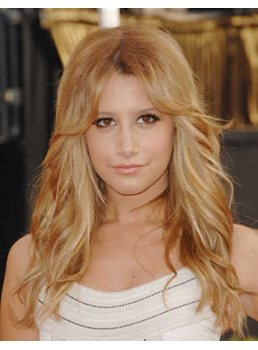Ashley Tisdale Human Hair Long Natural Wave Lace Wig 18 inches