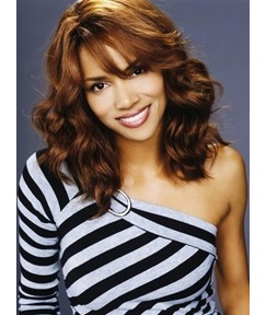 Fabulous New Medium Wavy Brown 100% Human Remy Hair Custom Halle Berry Wigs 16 Inches