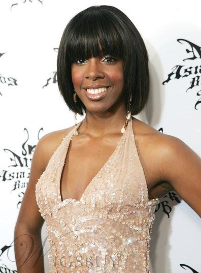 Kelly Rowland Bob 100% Human Hair Short Straight Black Wig 8 Inches