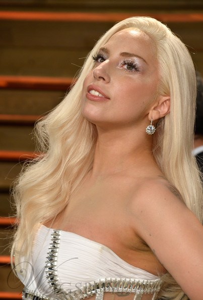 Lady Gaga Blonde Wavy Synthetic Hair Lace Front Wig 22