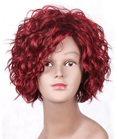 Charming Medium Curly Synthetic Lace Front Wigs 10 Inches