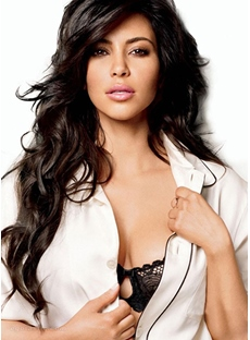 Kim Kardashian Long Wavy Hairstyle Synthetic Hair Lace Front Wig 24 Inches