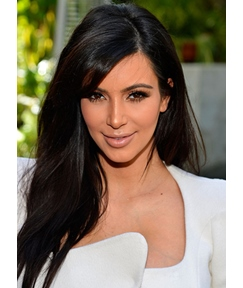 Kim Kardashian Long Straight Side Bang Human Hair Lace Front Wigs 18 Inches