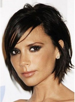 Short Neat Shag Bob Hairstyle 100% Human Hair Mono Top Wig 8 Inches